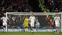 Photo: Paul Thomas/Sportsbeat Images.<br />England v Croatia. UEFA European Championships Qualifying. 21/11/2007.<br /><br />Dejected Scott Carson (Yellow), Frank Lampard (R), Sol Campbell (L)) and Steven Gerrard of England after Croatia score there third goal.
