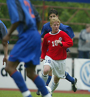 Fotball. Privatlandskamp U21. Sandefjord. 20.05.2002.<br /> Norge v Nederland 1-1.<br /> Fredrik Strømstad, Norge og Start.<br /> Foto: Morten Olsen, Digitalsport