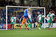 AFC Wimbledon forward Kwesi Appiah (9) can't quite get on the end of this early cross during the EFL Sky Bet League 1 match between AFC Wimbledon and Plymouth Argyle at the Cherry Red Records Stadium, Kingston, England on 26 December 2018.