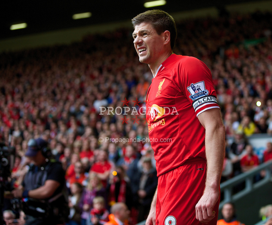LIVERPOOL, ENGLAND - Sunday, March 30, 2014: Liverpool's captain Steven Gerrard in action against Tottenham Hotspur during the Premiership match at Anfield. (Pic by David Rawcliffe/Propaganda)