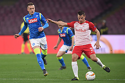 March 7, 2019 - Naples, Naples, Italy - Piotr Zielinski of SSC Napoli competes for the ball with Stefan Lainer of RB Salzburg during the UEFA Europa League match between SSC Napoli and RB Salzburg at Stadio San Paolo Naples Italy on 7 March 2019. (Credit Image: © Franco Romano/NurPhoto via ZUMA Press)