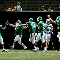 Oct 5, 2013; New Orleans, LA, USA; North Texas Mean Green offensive linesman Mason Y'Barbo (57) celebrates after recovering a fumble in the endzone for a touchdown against the Tulane Green Wave during the second half at Mercedes-Benz Superdome. Tulane defeated North Texas 24-21. Mandatory Credit: Derick E. Hingle-USA TODAY Sports
