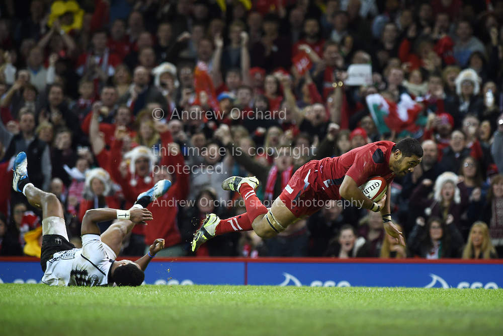 Taulupe Faletau of Wales 'scores' a try but it is disallowed. Dove Men series 2014, autumn international rugby, Wales v Fiji at the Millennium Stadium in Cardiff, South Wales on Saturday 15th November 2014.<br /> pic by Andrew Orchard, Andrew Orchard sports photography.