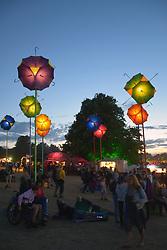 Latitude Festival, Henham Park, Suffolk, UK July 2018. Solar umbrella lights