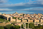 Four Posts - Los Cuatro Postes - and town of Avila with Extra-Muros churches and medieval city walls, UNESCO World Heritage Site, Spain