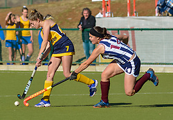 Minke van Heerden of Oranje MS(yellow) and Nicole-Ann Moreby of HMS Bloemhof during day two of the FNB Private Wealth Super 12 Hockey Tournament held at Oranje Meisieskool in Bloemfontein, South Africa on the 7th August 2016, <br /> <br /> Photo by:   Frikkie Kapp / Real Time Images