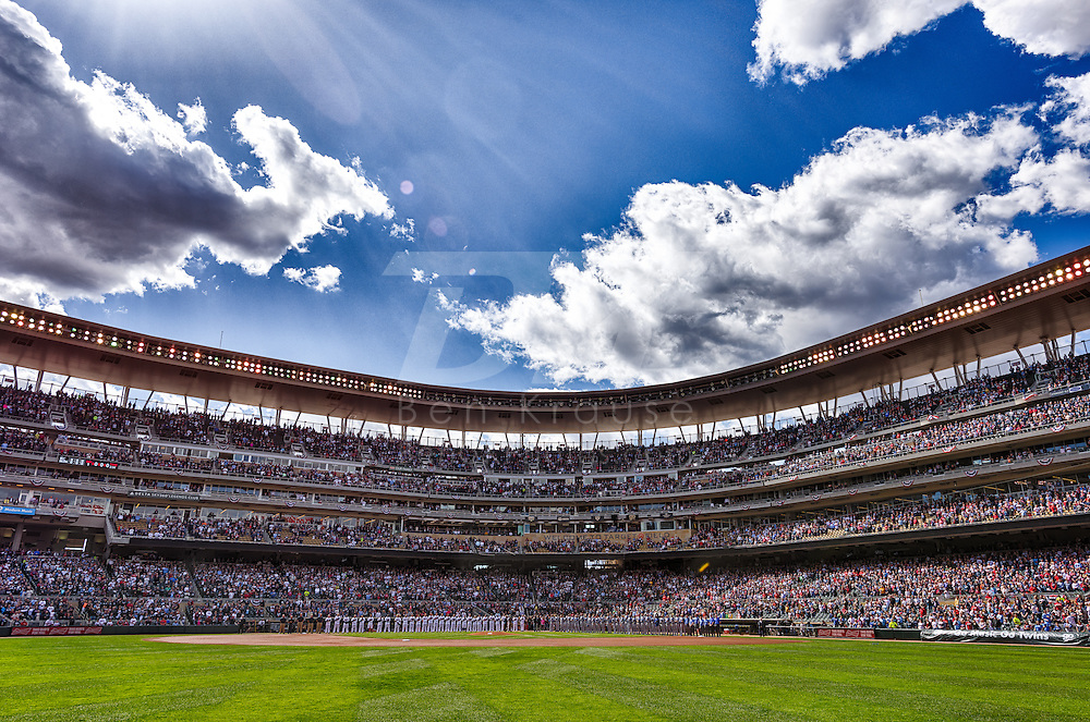 [Note: This photo was created by combining multiple exposures to create a high dynamic range photo during post-processing.] 2015 Home Opener Minnesota Twins vs. Kansas City Royals on April 13, 2015 at Target Field in Minneapolis, Minnesota.  The Royals defeated the Twins 12 to 3.  Photo by Ben Krause