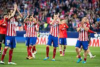 Atletico de Madrid's Juanfran, Augusto, Tiago and Koke during La Liga Match at Vicente Calderon Stadium in Madrid. May 14, 2016. (ALTERPHOTOS/BorjaB.Hojas)