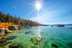"""""""Whale Beach in Autumn 3"""" - Photograph of Whale Beach, Lake Tahoe shot in the fall, Whale Rock can be seen in the distance."""