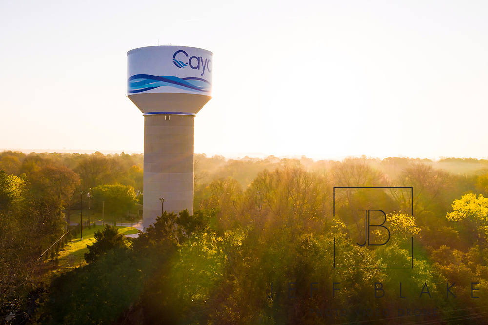 Drone Photo of the Cayce Water Tower in Cayce, SC. Drone Photo © www.JeffBlakePhoto.com