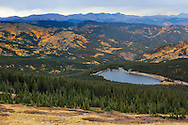 Echo Lake in autumn, seen from above along the Mt Evans Rd, Rocky Mountains, Colorado, USA