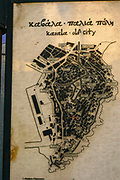 Ancient map of the old town of Kavala,  Macedonia, Greece