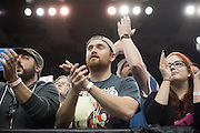 Supporters look on as democratic presidential candidate Sen. Bernie Sanders speaks during a campaign rally on February 28, 2016 in Oklahoma City, Oklahoma.  (Cooper Neill for The New York Times)