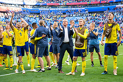 July 3, 2018 - St Petersburg, RUSSIA - 180703 Marcus Berg, head coach Janne Andersson and Emil Forsberg of Sweden celebrates after winning the FIFA World Cup round of 16 match between Sweden and Switzerland on July 3, 2018 in St Petersburg..Photo: Joel Marklund / BILDBYRÃ…N / kod JM / 87748 (Credit Image: © Joel Marklund/Bildbyran via ZUMA Press)