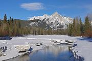 Canadian Rockies in winter. Kananaskis River and Mt. Lorette., Kananaskis Country, Alberta, Canada