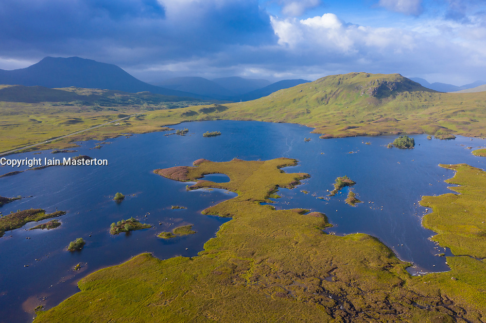 Aerial view of Lochan na h-Achlaise on Rannoch Moor in summer, Scotland, UK