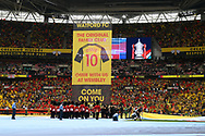 A giant banner is hangs in front of the Watford fans ahead of the The FA Cup Final match between Manchester City and Watford at Wembley Stadium, London, England on 18 May 2019.
