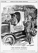 General strike in Britain, 1926. Mr Punch thanking members of the British public who kept essential services running during the strike. Cartoon by Leonard Raven-Hill from 'Punch, 19 May 1916.