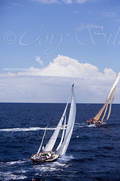 Golden Eye sailing in the Antigua Classic Yacht Regatta, Butterfly Race.