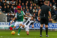 Ryan Flynn of St Mirren tackles Mark Milligan of Hibernian FC during the Ladbrokes Scottish Premiership match between St Mirren and Hibernian at the Simple Digital Arena, Paisley, Scotland on 29th September 2018.