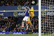 Christian Benteke of Crystal Palace gets his head to the ball ahead of Phil Jagielka of Everton, but his effort goes wide. Premier league match, Everton v Crystal Palace at Goodison Park in Liverpool, Merseyside on Friday 30th September 2016.<br /> pic by Chris Stading, Andrew Orchard sports photography.