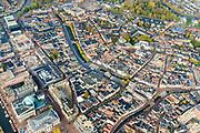 Nederland, Friesland, Leeuwarden, 04-11-2018; Leeuwarden (Ljouwert) met straten en grachten, onder andere Zaailand en Nieuwestad, Fries Museum, Stadsschouwburg De Harmonie, Stadhuis.<br /> City centre Leeuwarden.<br /> <br /> luchtfoto (toeslag op standaard tarieven);<br /> aerial photo (additional fee required);<br /> copyright © foto/photo Siebe Swart