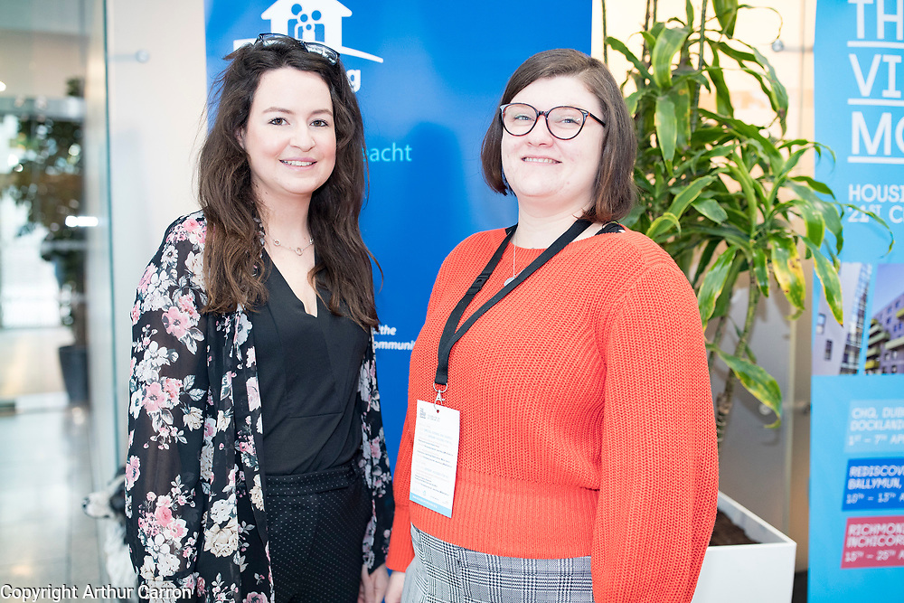 NO FEE PICTURES <br /> 8/4/19 Michelle Leamy and Jasmin Pathe, Housing Agency, at the Housing for All seminar at CHQ, Dublin, the Dublin Housing Observatory share early insights into Migration, Integration and Housing study, Insights are discussed as part of the Vienna Model of Housing Exhibition Picture:Arthur Carron