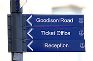 A signpost outside the stadium.  Premier league match, Everton v Middlesbrough at Goodison Park in Liverpool, Merseyside on Saturday 17th September 2016.<br /> pic by Chris Stading, Andrew Orchard sports photography.