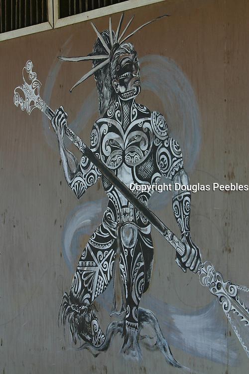 Painting of tatooed man, Hakahau, Ua Pou, Marquesas, French Polynesia<br />