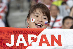 September 20, 2019, Tokyo, Japan: A Japanese fan supports her national team during the Rugby World Cup 2019 Pool A match between Japan and Russia at Tokyo Stadium. Japan defeats Russia 30-10. (Credit Image: © Rodrigo Reyes Marin/ZUMA Wire)