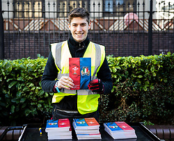 A programme seller outside of the stadium<br /> <br /> Photographer Simon King/Replay Images<br /> <br /> Six Nations Round 1 - Wales v Italy - Saturday 1st February 2020 - Principality Stadium - Cardiff<br /> <br /> World Copyright © Replay Images . All rights reserved. info@replayimages.co.uk - http://replayimages.co.uk