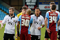 New loan signing James Tavernier of Bristol City lines up with his new teammates as they greet the Scunthorpe United players before the match - Photo mandatory by-line: Rogan Thomson/JMP - 07966 386802 - 17/01/2015 - SPORT - FOOTBALL - Scunthorpe, England - Glanford Park - Scunthorpe United v Bristol City - Sky Bet League 1.
