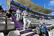 Adam Lyth of Yorkshire and Harry Brook of Yorkshire walk out to bat during the Specsavers County Champ Div 1 match between Hampshire County Cricket Club and Yorkshire County Cricket Club at the Ageas Bowl, Southampton, United Kingdom on 11 April 2019.