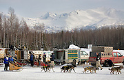 Alaska. Sled Dog team finishes the Anchorage Ceremonial start at the BLM Campbell Creek compound, the Chugach Mountains in the background.