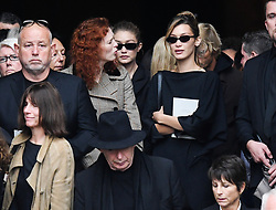 Bella and Gigi Hadid leaving the funeral service for late photographer Peter Lindbergh held at Saint Sulpice church in Paris, France on September 24, 2019. Photo by ABACAPRESS.COM