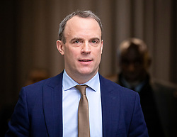 © Licensed to London News Pictures. 05/01/2020. London, UK. Foreign Secretary Dominic Raab leaves BBC Broadcasting House after appearing on the Andrew Marr Show. Photo credit: Rob Pinney/LNP