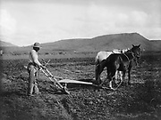 Sacaton Indian Reservation. Indian plowing his land. Salt River Project,  1930.