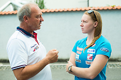 Marusa Ferk with her father at departure of Slovenian Women Ski Team to training camp in Argentina on August 5, 2014 in SZS, Ljubljana, Slovenia. Photo by Vid Ponikvar / Sportida.com