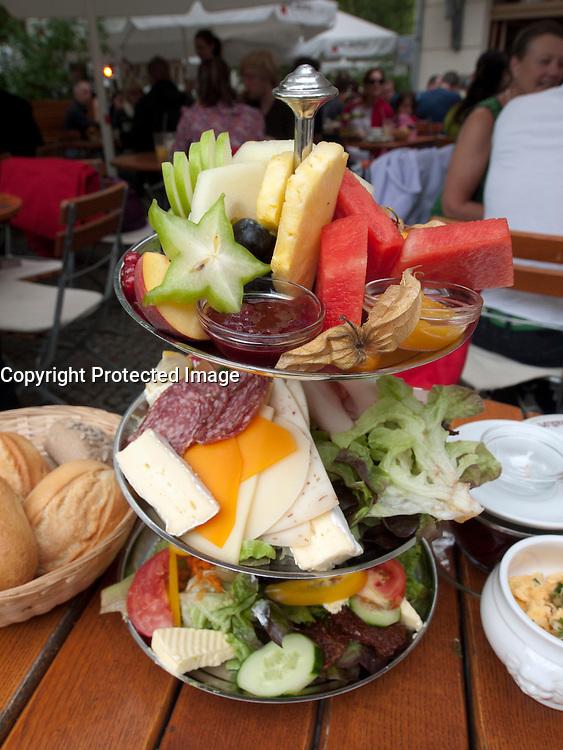 Detail of special breakfast platter served at popular Anna Blume cafe in Prenzlauer Berg in Berlin Germany