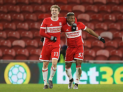 Middlesbrough's Patrick Bamford (left) looks delighted after scoring his sides second goal of the game, celebrating with Middlesbrough's Adama Traore during the Sky Bet Championship match at the Riverside Stadium, Middlesbrough.