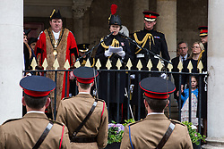 Windsor, UK. 18 May, 2019. Princess Anne, Princess Royal, addresses the Household Cavalry from the Guildhall as they exercise their right to a Freedom of Entry March through Windsor by way of a farewell to the town where they have been based for over 200 years in advance of their relocation to Salisbury Plain later this year. The march comprised up to 250 marching troops, 8 mounted troops, the Band of the Household Cavalry and veterans.