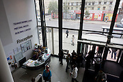 Aerial view of reception foyer at London Metropolitan University's Holloway Road campus.
