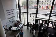 Aerial view of reception foyer at London Metropolitan University's Holloway Road campus.