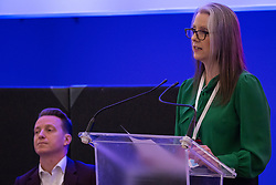 London, UK. 24th November, 2018. Carla Burns, candidate for Renew UK, a new centrist political party launched in February 2018, addresses its inaugural National Assembly at Westminster Central Hall. Led by Annabel Mullin, James Torrance and James Clarke, Renew UK has signed up 100 candidates ready to stand in future UK elections based on a wide-ranging programme of reform.