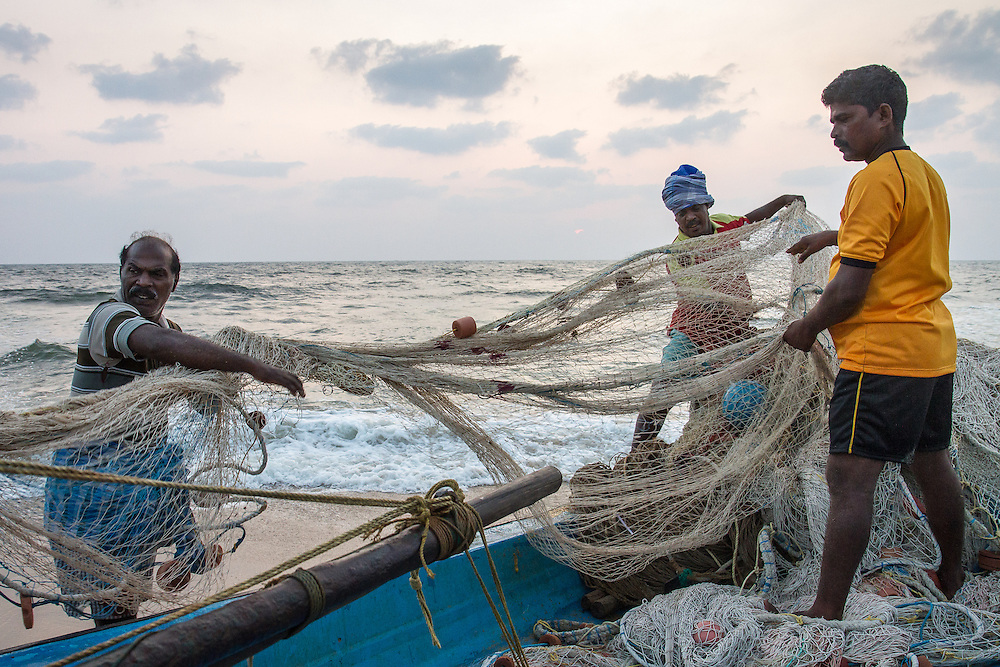 Chennai, India: Preparing the nets at Valmiki Beach.