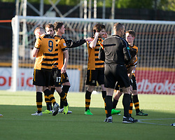 Alloa Athletic's Greg Spence (9) and  players after the winning Brechin penalty. Athletic 4 v 3 Brechin City (Brechin won 5-4 on penalties), Ladbrokes Championship Play-Off 2nd Leg at Alloa Athletic's home ground, Recreation Park, Alloa.