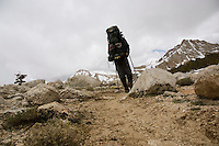 Hiker on approach to Mt. Langley via Cottonwood lakes trail.  June 2005.  Eastern Sierra Nevada Mountains. California