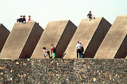 MEXICO, EDUCATION, MEXICO CITY National University of Mexico, UNAM 'Sculptured Space' concrete prisms by Mathias Goeritz set in lava field