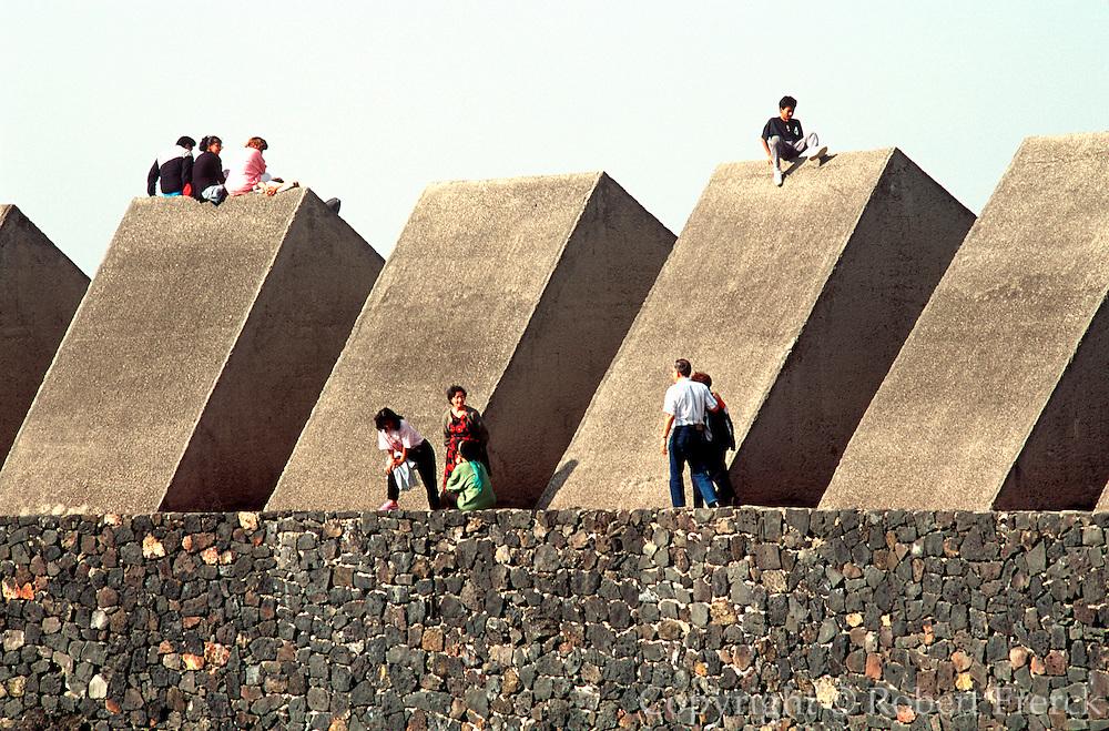 MEXICO, EDUCATION, MEXICO CITY National University of Mexico, UNAM 'Sculptured Space' concrete prisms by Mathias Goeritz set in lava field