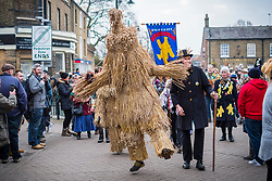 © Licensed to London News Pictures. 13/01/2018. Whittlesey UK. The straw Bear makes it's way through Whittlesey town centre this morning at the 39th Whittlesey Straw Bear Festival taking place today. In times past when starvation bit deep the ploughmen of the area where drawn to towns like Whittlesey, They knocked on doors begging for food & disguised their shame by blackening their faces with soot. In Whittlesey it was the custom on the Tuesday following Plough Monday to dress one of the confraternity of the plough in straw and call him a Straw Bear. The bear was then taken around town to entertain the folk who on the previous day had subscribed to the rustics, a spread of beer, tobacco & beef. The bear was made to dance in front of houses & gifts of money, beer & food was expected.Photo credit: Andrew McCaren/LNP